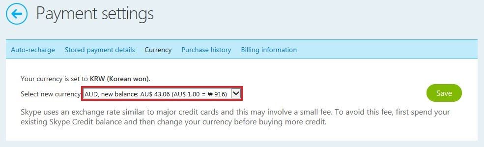 how to change currency in skype